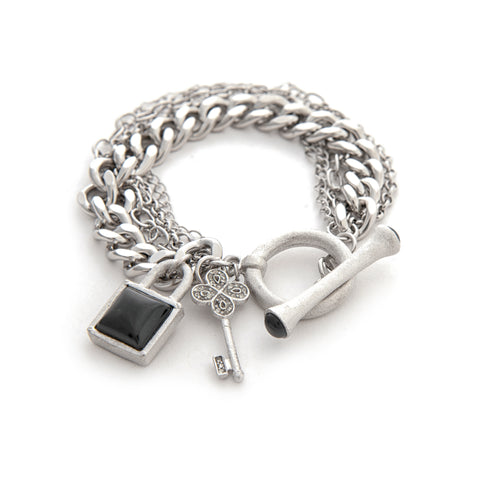 Multi Chain White Rhodium Gem Stone Charm Toggle Bracelet