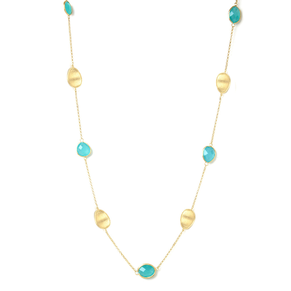 Mint Chalcedony + Satin Oval Disc Station Necklace