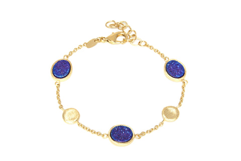 Purple Druzy Quartz Station Bracelet
