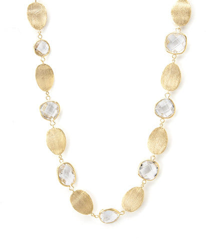 Rock Crystal + Satin Oval Disc Statement Necklace