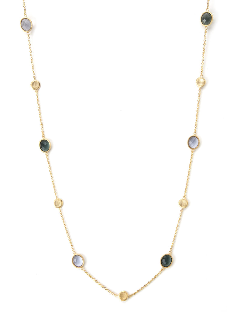 Aquamarine + Platinum Grey + Satin Pebble Station Necklace