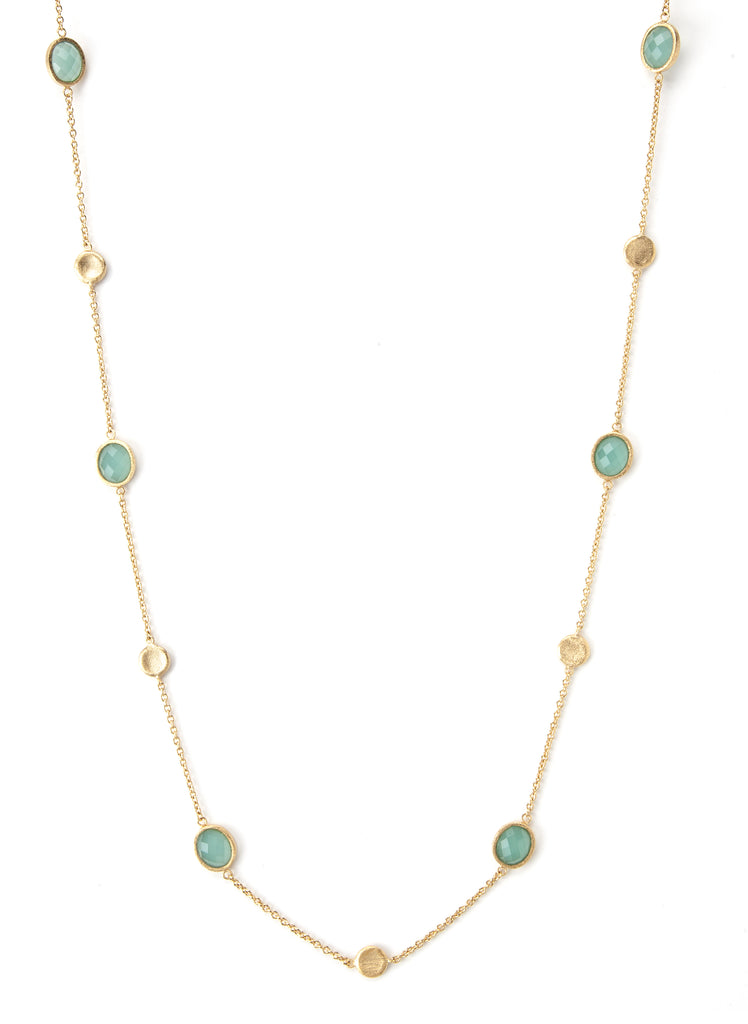 Mint Chalcedony + Satin Disc Station Necklace