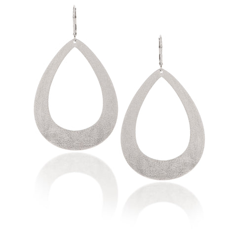 White Rhodium Bold Teardrop Dangles