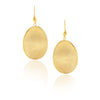 Organic Oval Satin Hook Earrings - Gold, Rose or Rhodium
