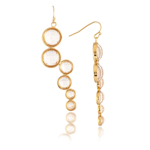Rock Crystal Cascading Circle Dangle Earrings