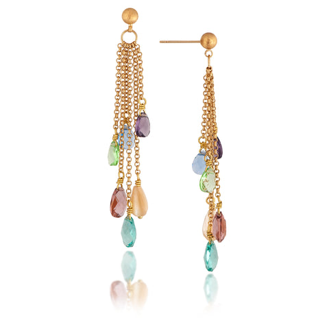 Multi Gem Briolette Drop Dangle Earrings