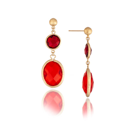 Rubelite + Fire Crystal Double Drop Earrings