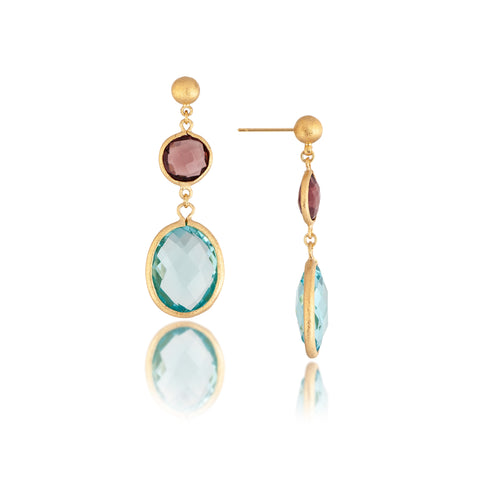 Tourmaline + Sky Blue Double Drop Earrings