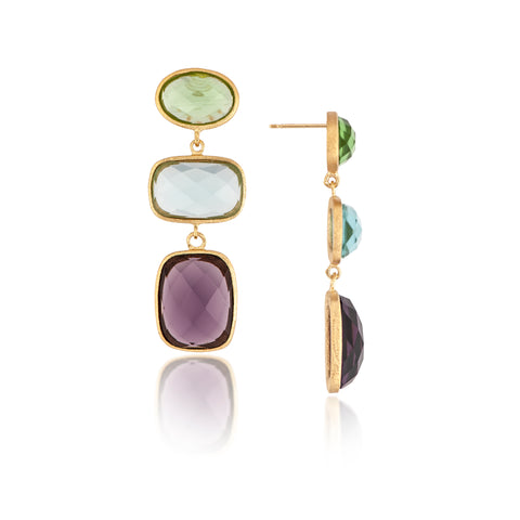 Apple , Sky + Amethyst Triple Drop Earrings