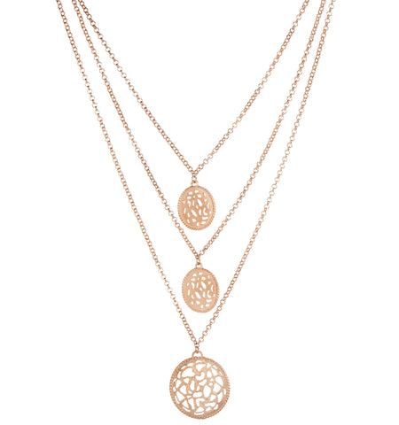 Rose Gold Filagree Triple Strand Necklace