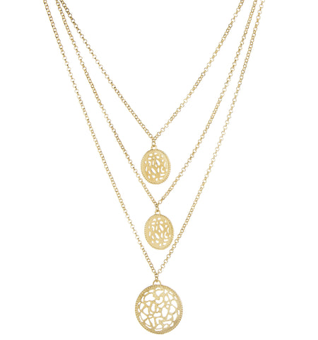 Filagree Triple Disc + Triple Strand Necklace