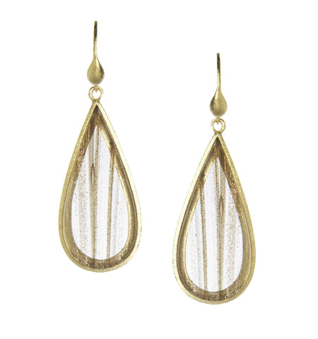 Rutilated Quartz Sliced Dangle Earrings