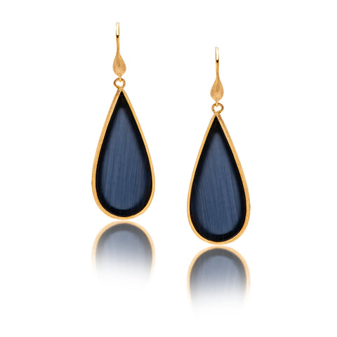 Cat's Eye Navy Sliced Dangle Earrings