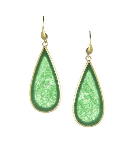 Green Quartzite Sliced Dangle Earrings