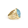 Caribbean Blue Quartzite Round Hammered Satin Cocktail Ring