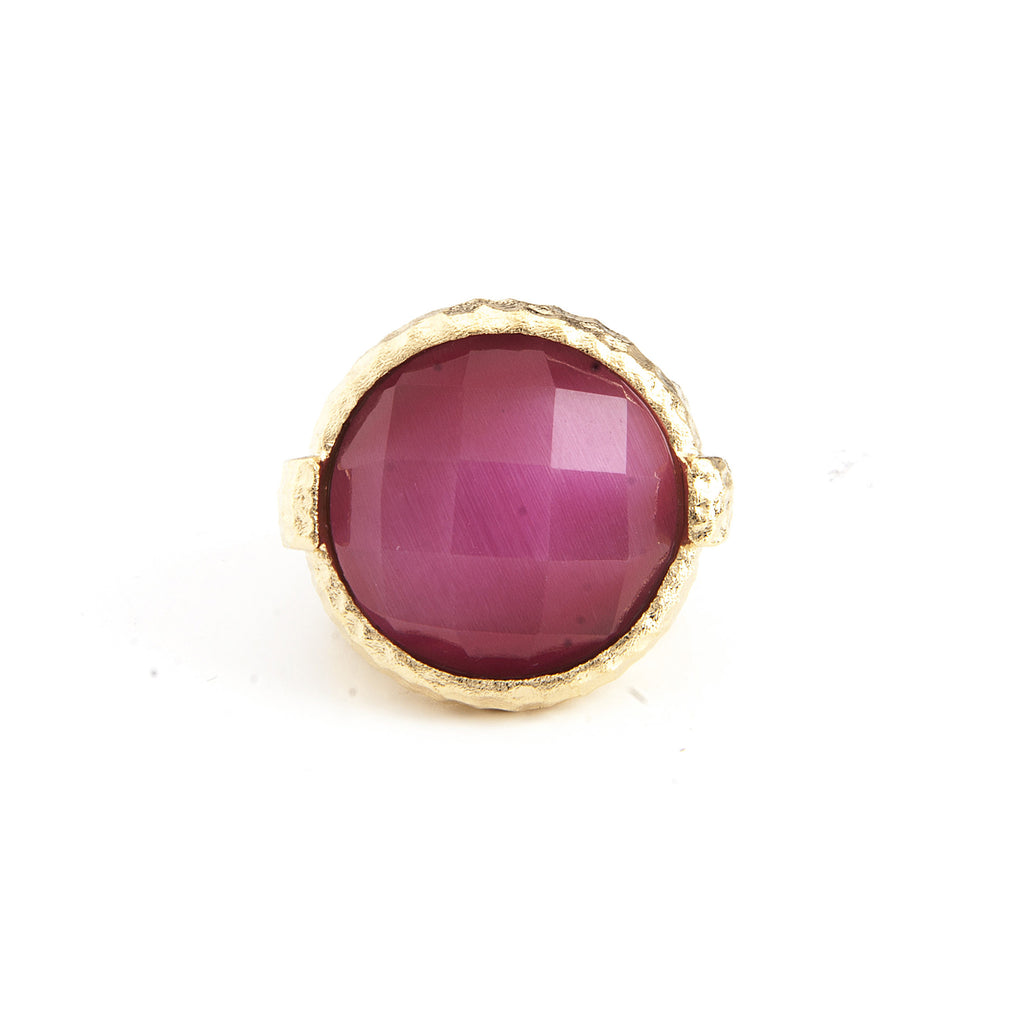 Raspberry Cat's Eye Round Hammered Satin Cocktail Ring