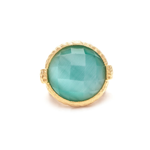 Aqua Cat's Eye Crystal Round Hammered Satin Cocktail Ring