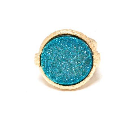 Aqua Blue Druzy Quartz Round Hammered Satin Cocktail Ring
