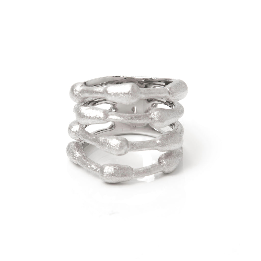 Rhodium Satin Bamboo Band Ring