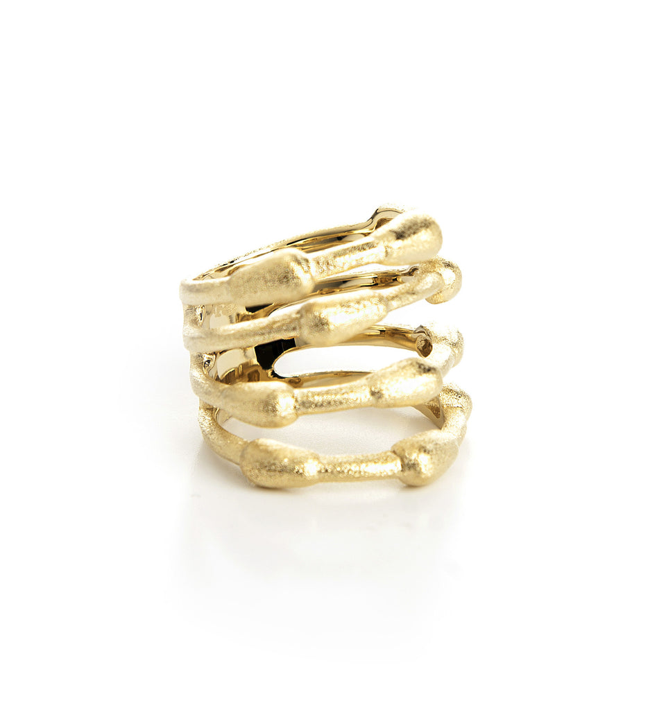 Satin Bamboo Wide Band Ring