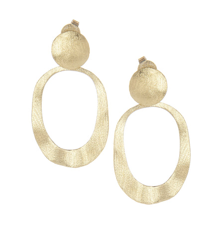 Satin Wavy Oval Drop Earrings