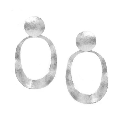 Rhodium Satin Wavy Oval Drop Earrings