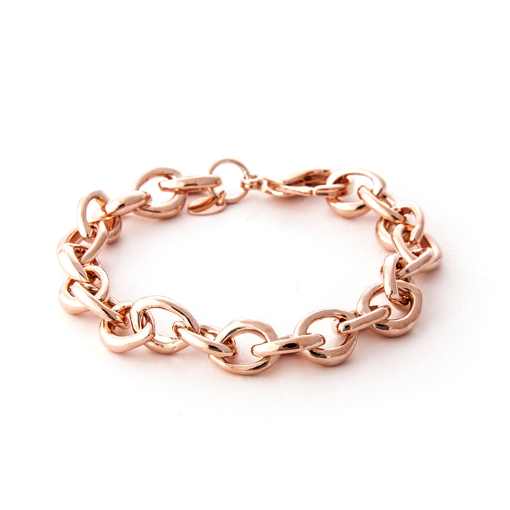 Rose Gold Polished Link Bracelet