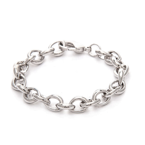 Rhodium Polished Link Bracelet