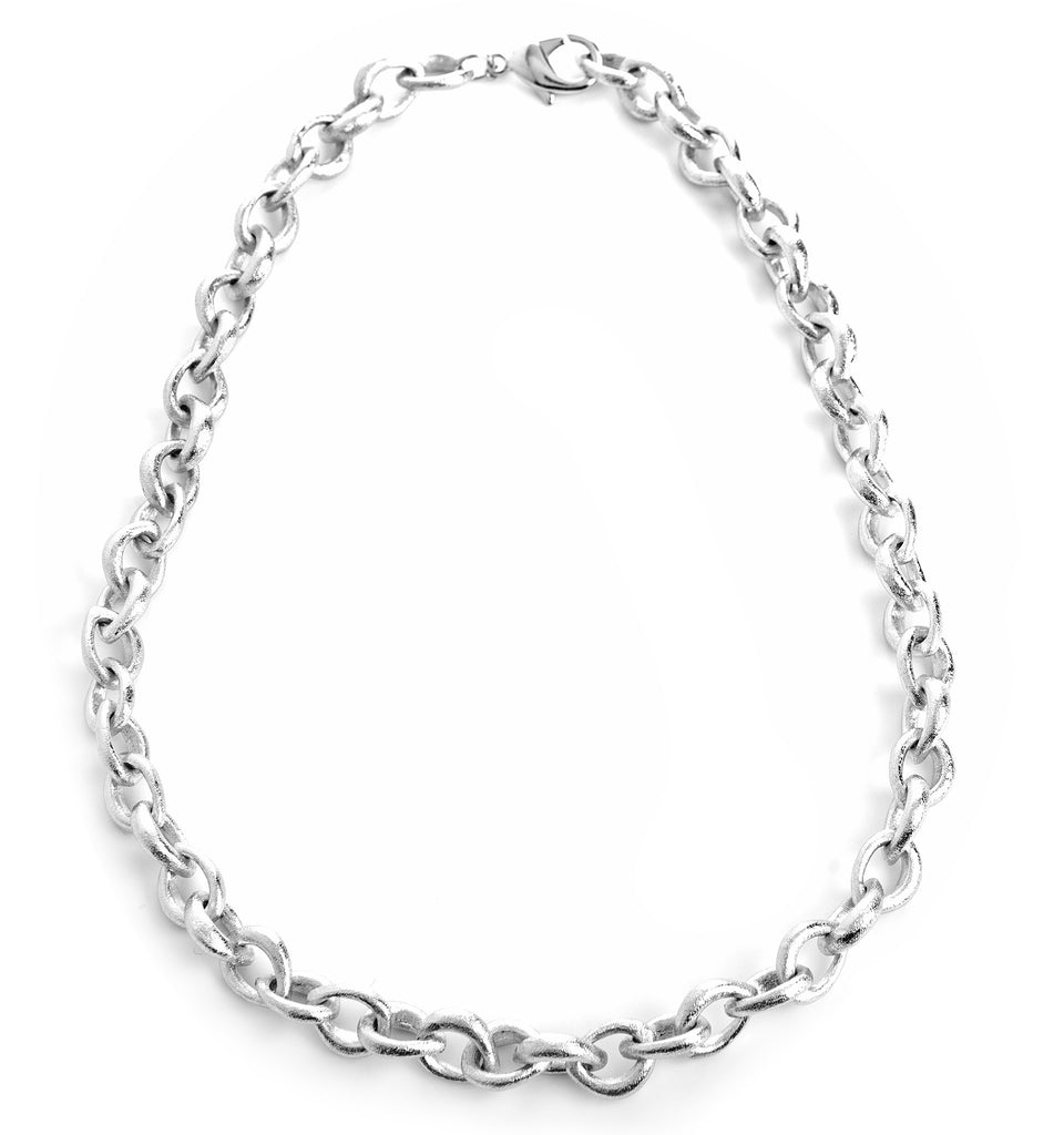 Rhodium Link Necklace