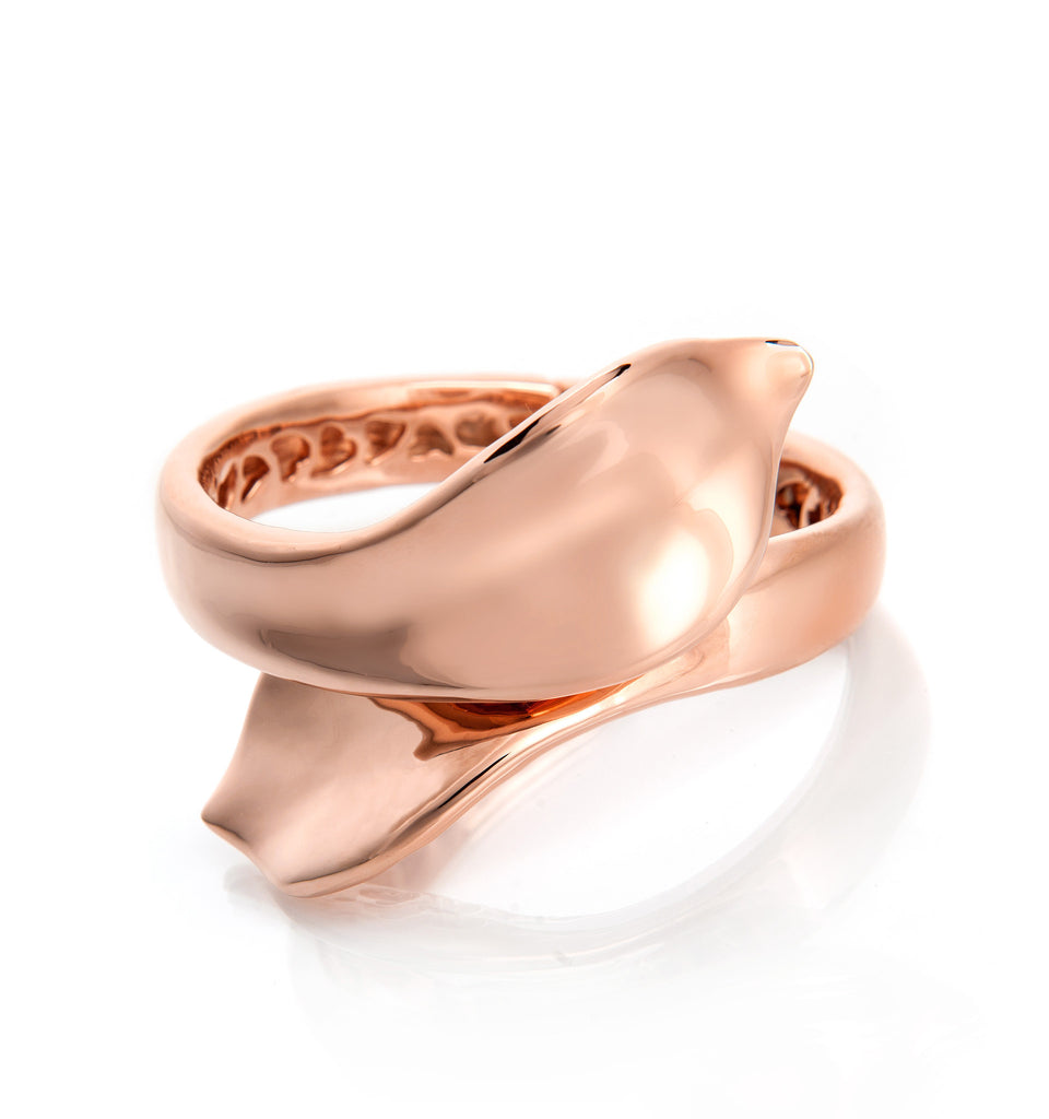 Tulip Bypass Rose Gold Hinged Cuff