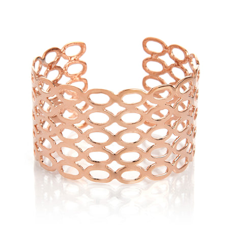 Petite Oval Pattern Rose Gold Cuff - Closeout
