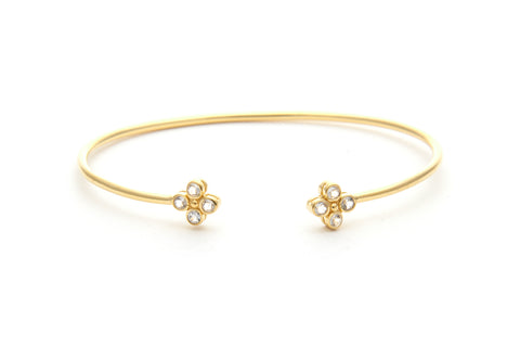 Felix + Lola White Topaz Clover Bangle - Closeout