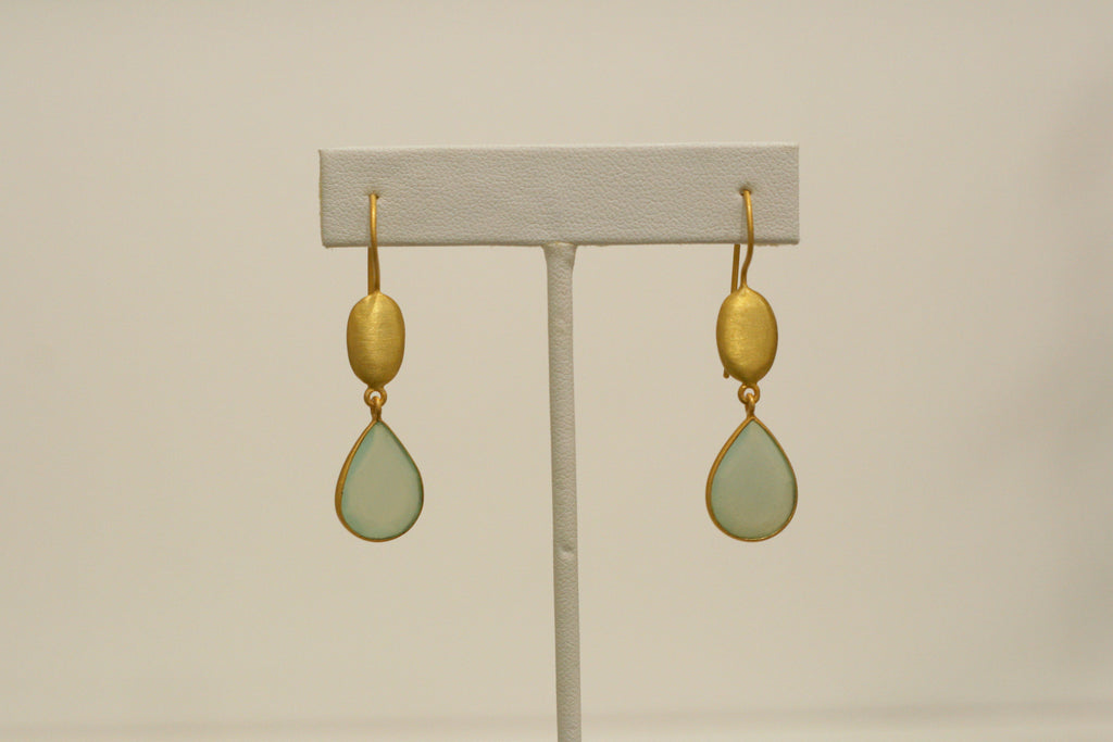 Felix + Lola Aqua Chalcedony Dangle Earrings - Closeout