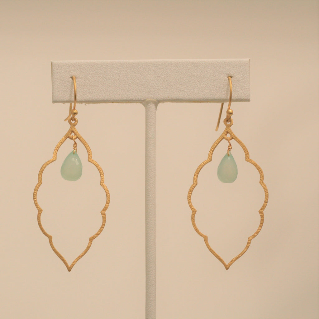 Felix + Lola Aqua Chalcedony Scalloped Edge Earrings - Closeout