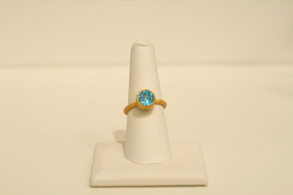 Felix + Lola Round Blue Zircon Stackable Ring - Closeout