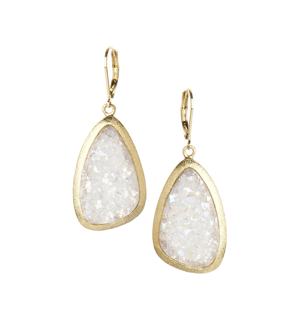 White Druzy Dangle Earrings