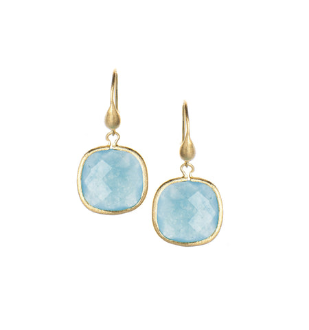 Caribbean Blue Quartzite Cushion Cut Dangle Earrings