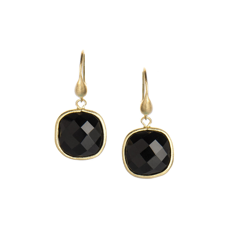 Onyx Cushion Cut Dangle Earrings