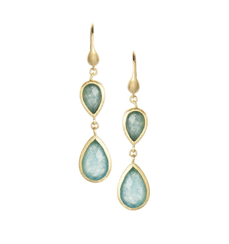 Caribbean Blue Quartzite Double Dangle Teardrop Earrings