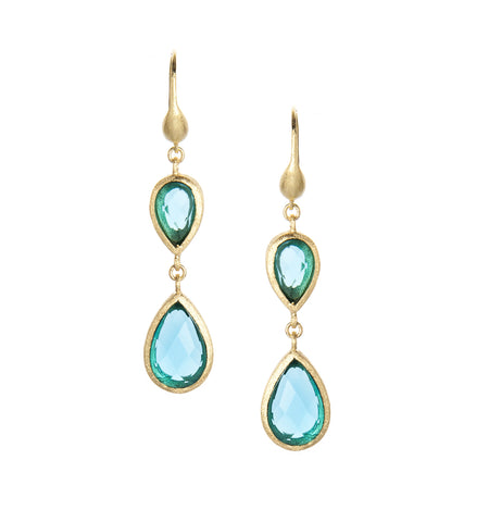 London Blue Double Dangle Teardrop Earrings