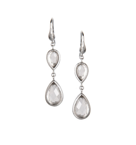 Rock Crystal Rhodium Double Dangle Earrings