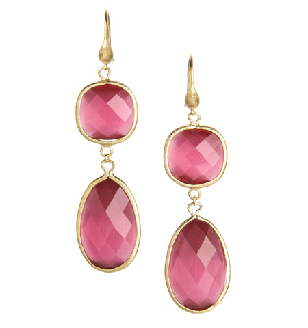 Raspberry Cat's Eye Double Dangle Earrings