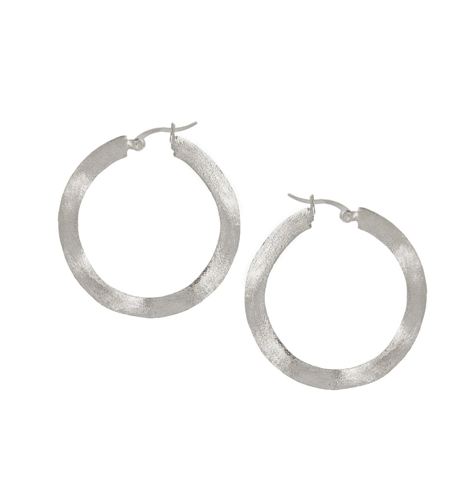 "Wavy Rhodium 1"" Hoop Earrings"