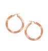 "Wavy Rose Gold Satin 1"" Hoop Earrings"