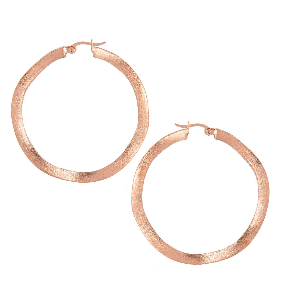 "Wavy Rose Gold Satin 2"" Hoop Earrings"