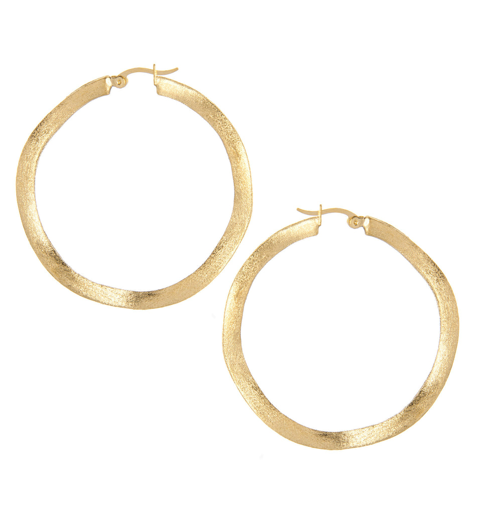 "Wavy Satin 2"" Hoop Earrings - Gold or Rhodium"