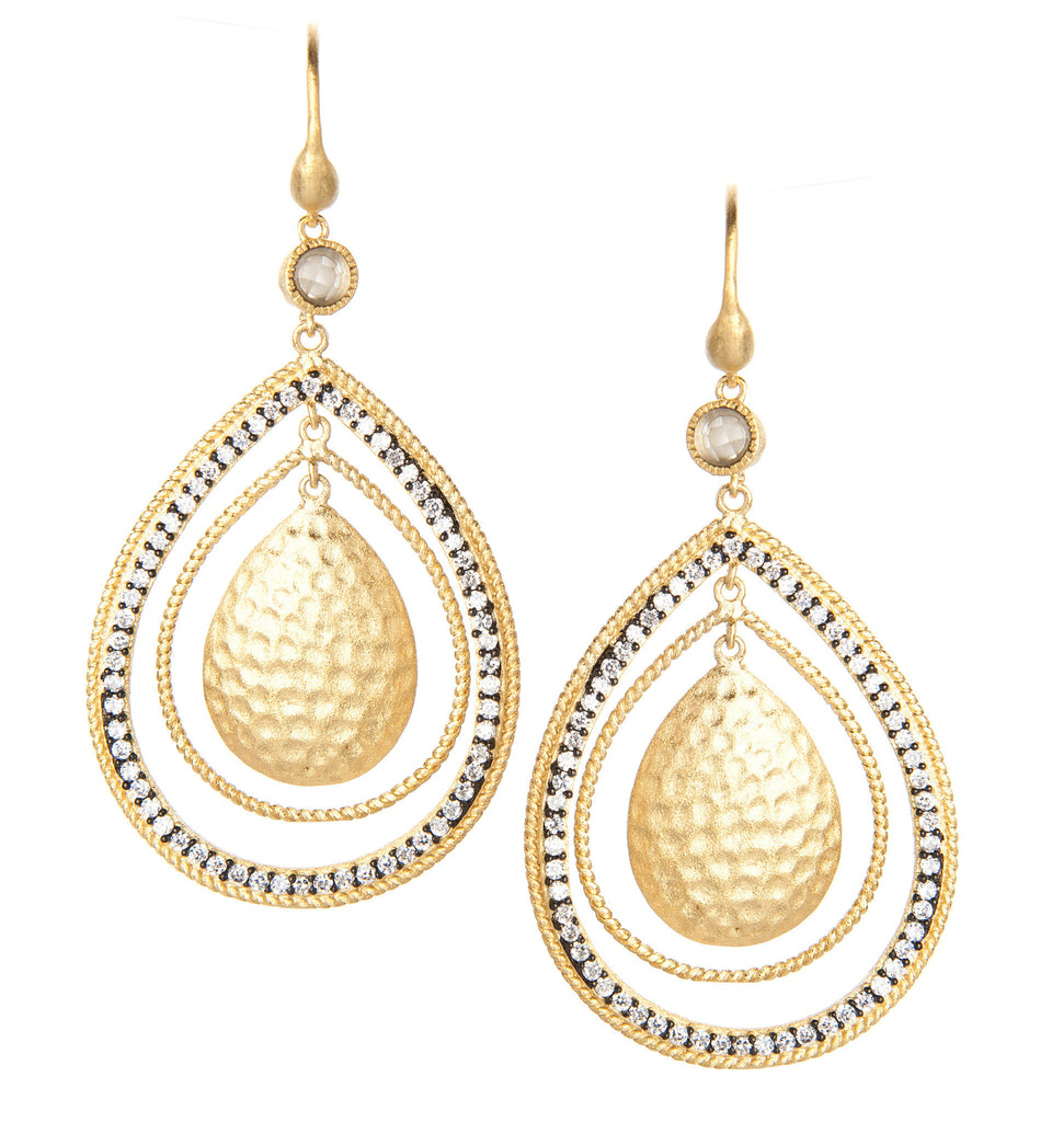 Simulated Diamond Two Tone Hammered Dangle Earrings
