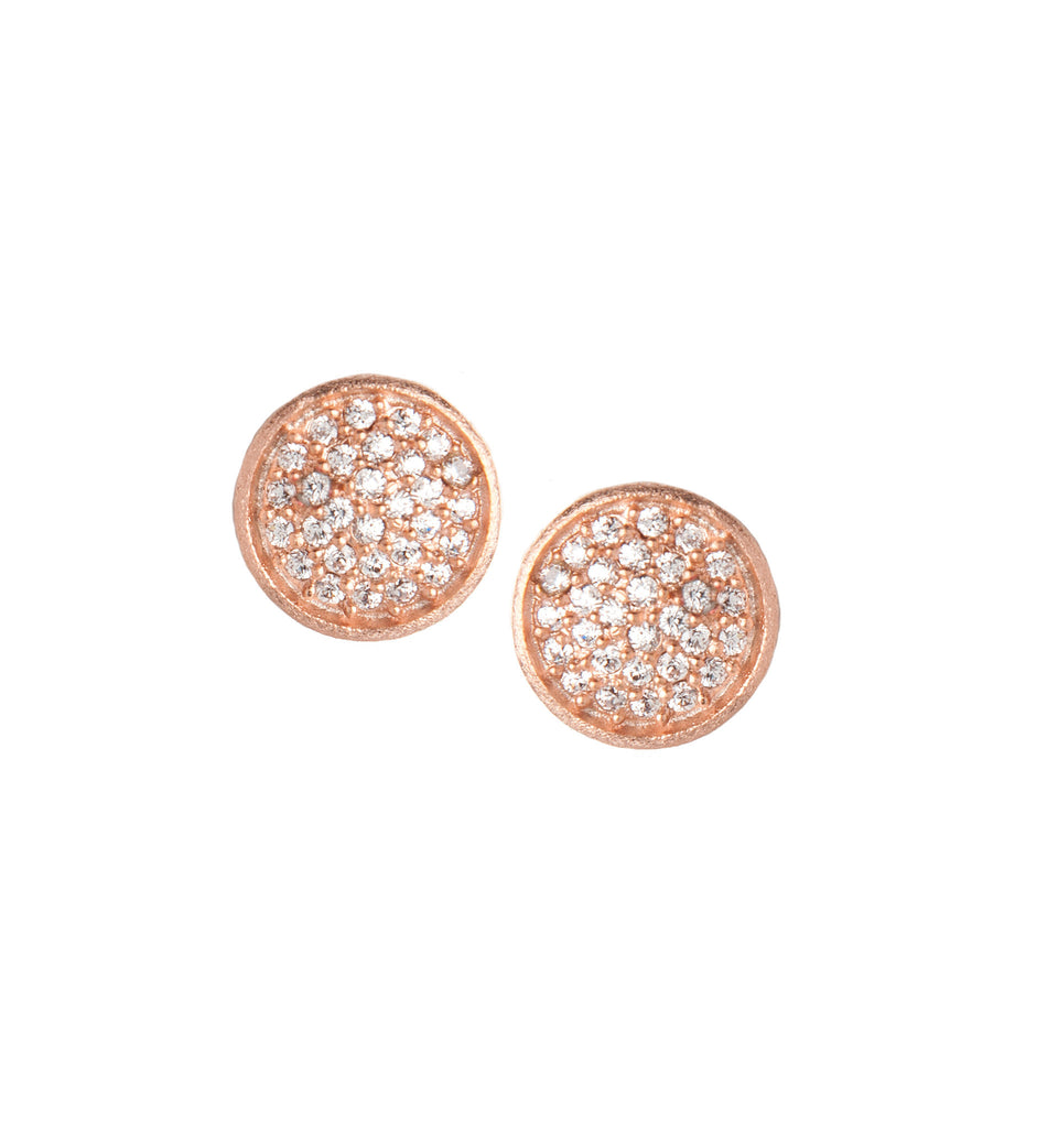 Simulated Diamond Rose Gold Stud Earrings
