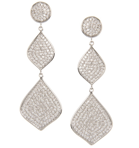 Rhodium Simulated Diamond Cascading Triple Dangle Earrings