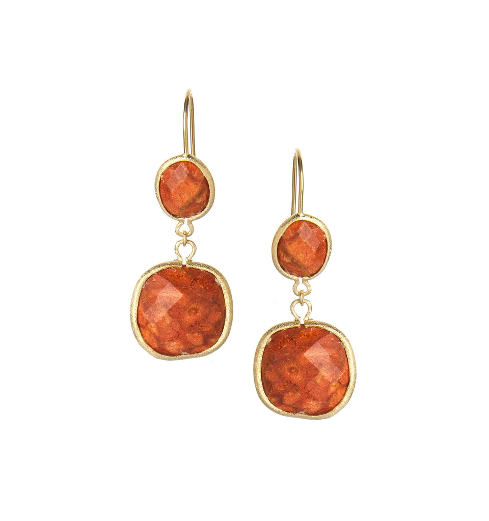 Coral Double Drop Earrings